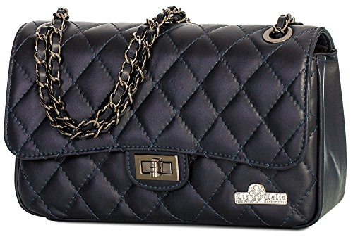 Womens Quilted Bag Ladies Italian Leather Genuine Purse Medium Clutch LIATALIA Navy Party Evening CAROL AgFxnF
