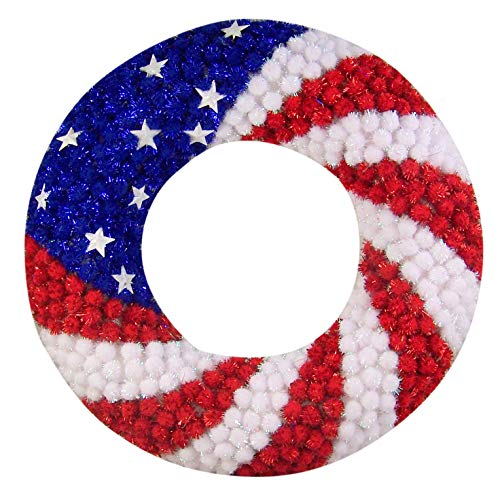 Red White and Blue Glitter Pom Pom 4th of July Wreath Patriotic Decorations, 15 1/2 Inches