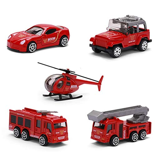 Idomeo Children Funny Inertial Alloy Model Toy Cars Pull Back Fire Truck Toy Set Play Vehicles