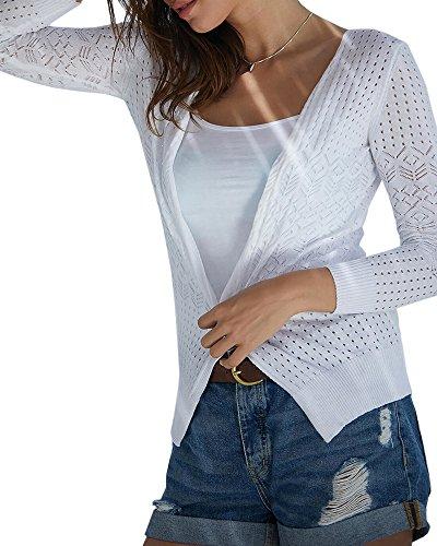 Seraih Women Long Sleeve Lightweight Cardigan Sweater Hole Knit Open Front Cardigans Tops (M, (Light Sweater Top)
