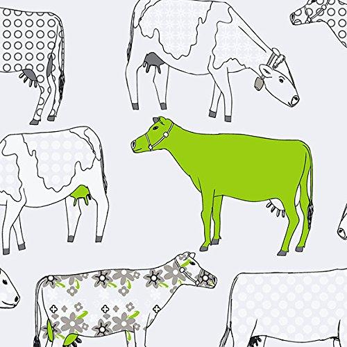 Norwall NWKE29928 Petersburg Cows Toile Textured Wallpaper, Green/Black