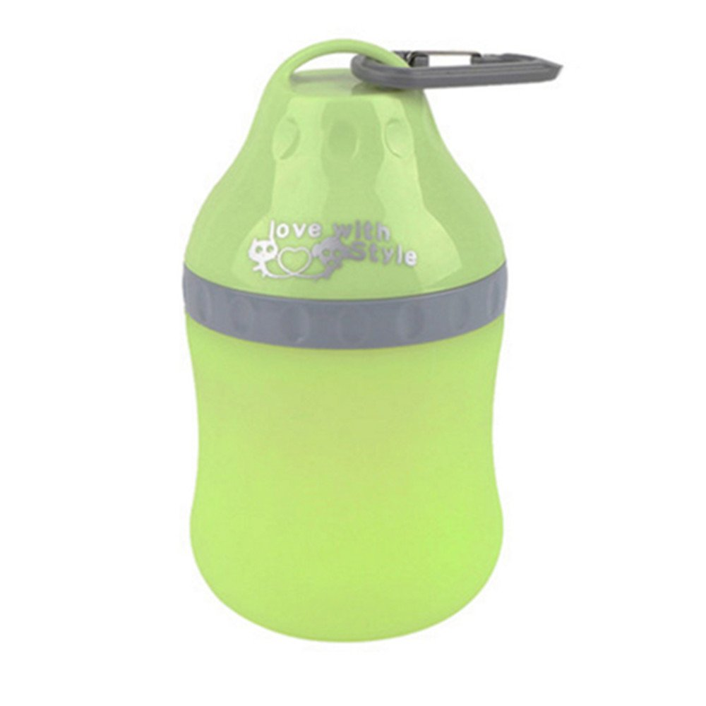 Pet Travel Bottle, PYRUS Portable Silicone Folding Pets Bowl Travel Pet Canteen Outdoor Collapsing Water Feeding Bottles Kettle with Carabiner Clip for Dogs Cats 400 ML(Green)
