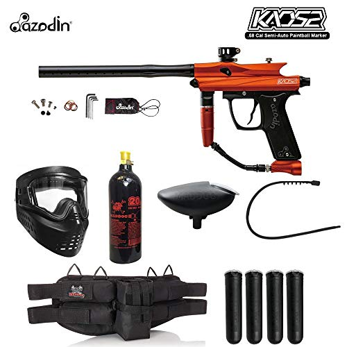 - MAddog Azodin KAOS 2 Silver Paintball Gun Package - Orange/Black