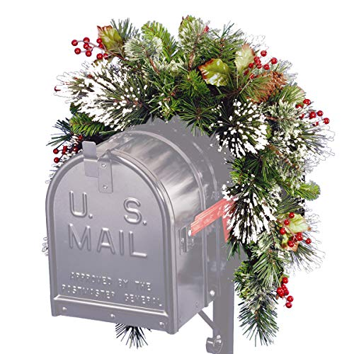 (National Tree 3 Foot Wintry Pine Collection Mailbox Swag with Red Berries, Cones and Snowflakes (WP1-813-3-1))