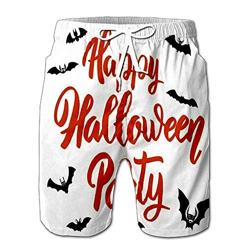 (Summer Shorts Pants Happy Halloween Party Phrase with Bats Design Element Swim Trunks Stripe Casual Swim Shorts)