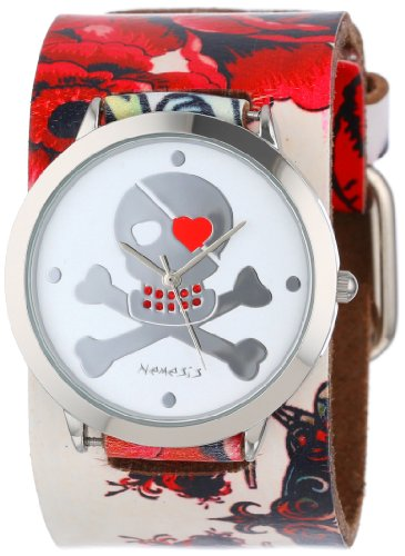 nemesis-womens-310-821r-heart-skull-collection-flower-tattoo-inspired-leather-band-watch