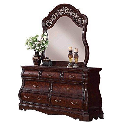 Tuscany Cherry Vanity (Roundhill Furniture Tuscany Modern Wood Dresser and Mirror, Cherry)