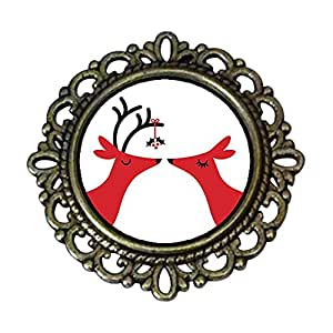 Chicforest Ancient Style Two Happy Christmas Reindeer Flower Pin Brooch