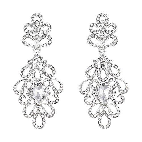 Crystal Floral Drop Earrings (BriLove Women's Wedding Bridal Dangle Earrings Vintage Style Floral Hollow Crystal Teardrop Chandelier Earrings Clear Silver-Tone)