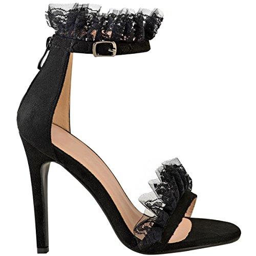 Fashion Thirsty con Volante Para Mujer Volante Encaje Fiesta Baile Tacón Aguja Tamaño de Tacón Sandalias Zapatos Negro Ante Artificial