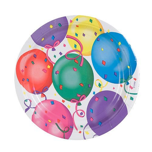 Hanna K. Signature Collection Healy's Balloons Round Paper Plates, 7-Inch, 8 Per Pack