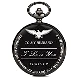 Pocket Watch to My Husband Love Forever, a Gift from Wife to Husband, Best Anniversary Gifts for Him, Vintage Quartz Black Smooth Roman Number Fob Chain Clock