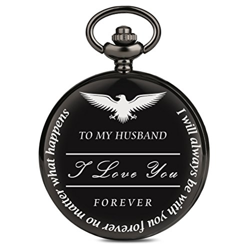 Pocket Watch to My Husband Love Forever, a Gift from Wife to Husband, Best Anniversary Gifts for Him, Vintage Quartz Black Smooth Roman Number Fob Chain Clock by MILIYA