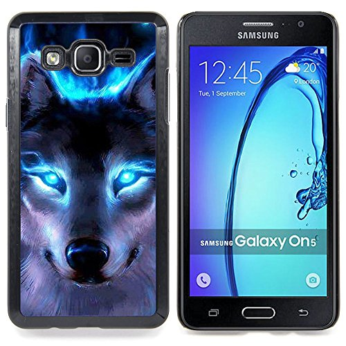 All Phone Most Case / Special Offer Smart Phone Hard Case Cool Image PC Skin Cover Protective Case for Samsung Galaxy On5 O5 // Wolf Blue Eyes Neon Bright Light Forest