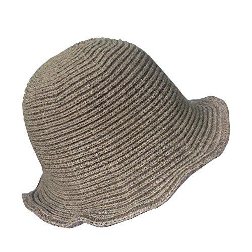 Trim Brim Hat (Urban CoCo Women's Wool Blend Foldable Hat Bow Trim Cloche Cap (#3 Khaki))