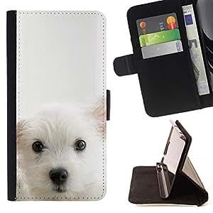 Momo Phone Case / Flip Funda de Cuero Case Cover - Cub perrito blanco Mutt Pet Hocico lindo del perro - Sony Xperia Z2 D6502