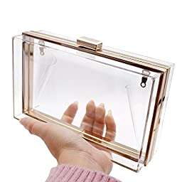 HQdeal Luxury Acrylic Fashionable Transparent Evening Clutches Shoulder Bags Handbag for Women Ladies Gift Ideal