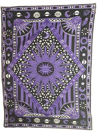 (Eve Split Burning Sun Tapestry,Celestial Sun Moon Planet Twin Psychedelic Tapestries, Bohemian Indian Hippie Wall Hanging,Dorms Bedspread Printing Cotton Dorm Decor Beach Blanket Carpet,Purple)
