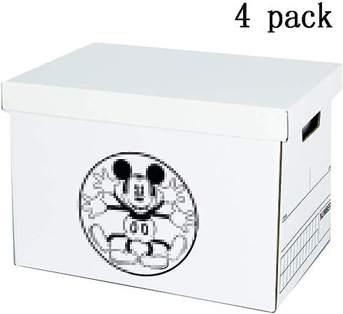 LHY SAVE 4 Pcs Cajas De Cartón,Caja De Almacenaje De Cartón,con Tapa Y Asa,Fácil De Ensamblar, para Regalo, Almacenamiento En El Hogar, Oficina Y Mudanza, Blanco, 39 * 28 * 27Cm,C: Amazon.es: