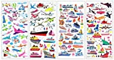 SET057-AIRCRAFT - 4 Different Sheets 3D Reusable Puffy Scrapbook Stickers - (Aircraft, Airship, Helicopter, Airplane, Jet, Space, Sailing Ship, Sailboat, Ferryboat, Lighthouse, Warship etc.)