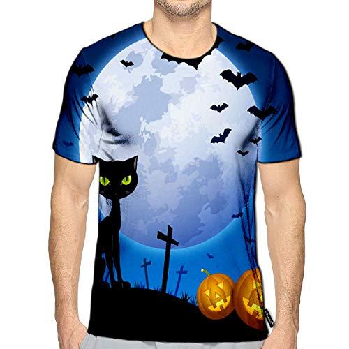 3D Printed T-Shirts Creepy Halloween Scene with Full Moon Black Cat Bats and Car
