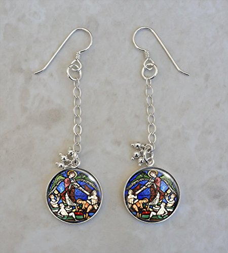 Medieval Stained Glass Church Angel .925 Sterling Silver Earrings