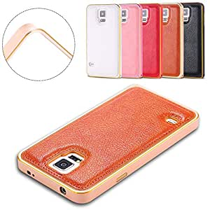 For Samsung S5/S4 Luxury PU Aluminum Rim Leather Case for Galaxy S5 i9600 S4 i9500 Metal Frame Lychee Soft Cellphone Back Cover --- Color:Brown for S5