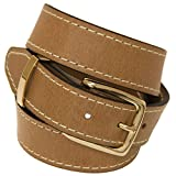 Orion Leather Mens 1 3/8 Dress Belt Tan Buffalo Leather Gold Buckle