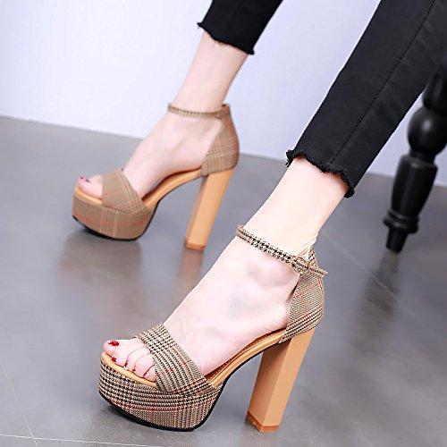 moda sandali scozzese punta YMFIE tacco Thick Summer sexy con Ladies a aperta A alto wIwvqpZ