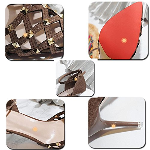 PBXP OL Pompe Peep Toe Cinghie Ankle Stiletto Mid Heel Fibbia Hollow Decorazione Rivetto Superiore Edizione Limitata Casual Scarpe UE Taglia 34-39 , brown , 34