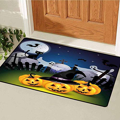 GloriaJohnson Halloween Commercial Grade Entrance mat Funny Cartoon Design with Pumpkins Witches Hat Ghosts Graveyard Full Moon Cat for entrances garages patios W15.7 x L23.6 Inch Multicolor -