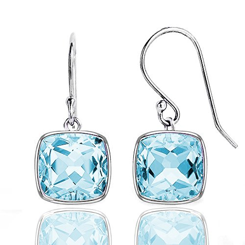 3.0 CTW Cushion Cut Genuine Blue Topaz Dangle Earrings in Sterling (Blue Topaz Cushion Earrings)
