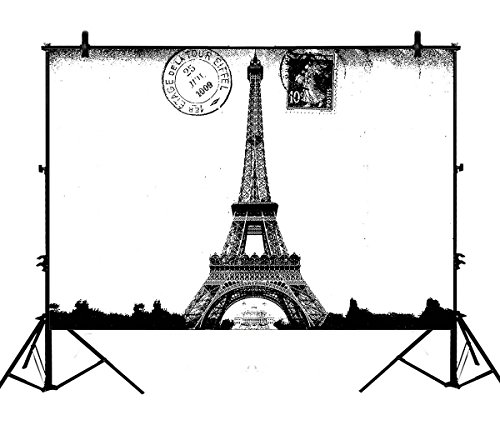 7x5ft Frech Paris Eiffel Tower City of Love Black White Polyester Photography Backdrop Studio Prop Photo Background (White Photography Paris Black)