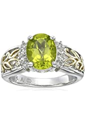 Sterling Silver and 14k Yellow Gold Oval Peridot and White Topaz Ring