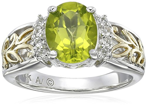 Sterling Silver Yellow Peridot White