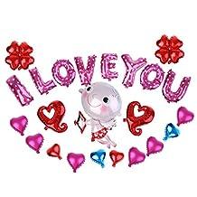 MonkeyJack Pink I LOVE YOU Alphabets Foil Balloons Set for Engagement Wedding Party Decoration