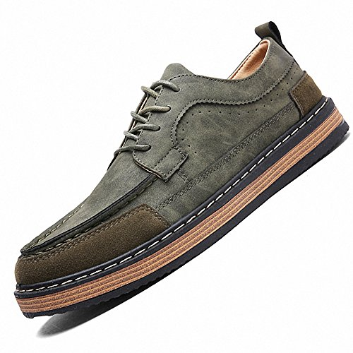 Ben Sports Mens Casual Suede Lace up Flat sneaker Loafer Shoes Green zCPAAKgu