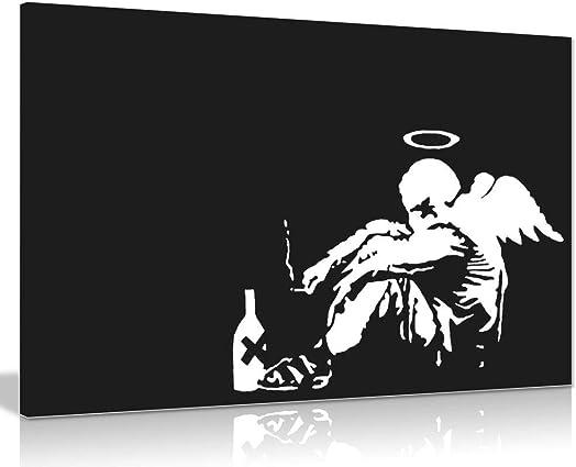 Banksy Fallen Angel Graffiti Canvas Wall Art Picture Print 36x24in