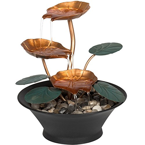 Home Office Decor Indoor Miniature Water Lily Tabletop Fountain (Leaf Copper Waterfalls)