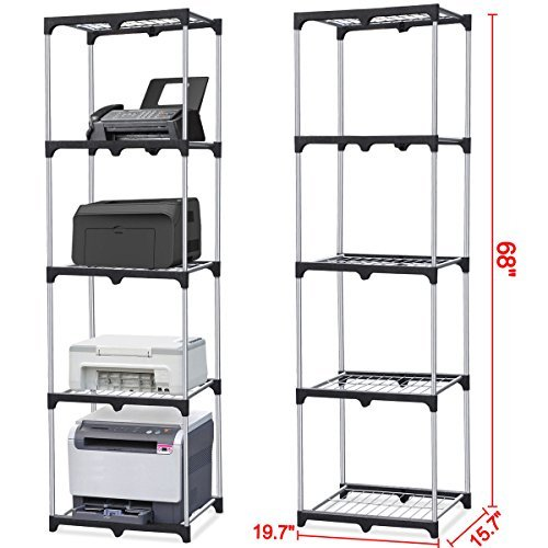 Home Kitchen Office Garage 5-Shelf Storage Rack Wire Shelving Unit Metal Closet