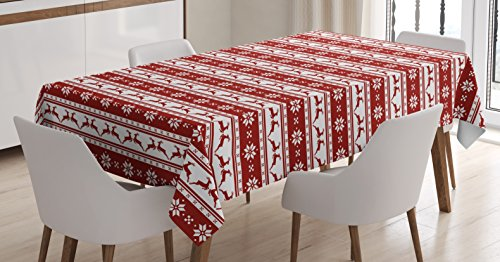 Ambesonne Christmas Tablecloth, Xmas Winter Themed Deers Snowflakes in Nordic Pattern Borders and Lines Artwork, Dining Room Kitchen Rectangular Table Cover, 52 W X 70 L Inches, Ruby ()