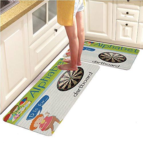 Long Kitchen Floor Mat Rug Runner Set,WashableFlashcard Alphabet D is for Dartboard (15