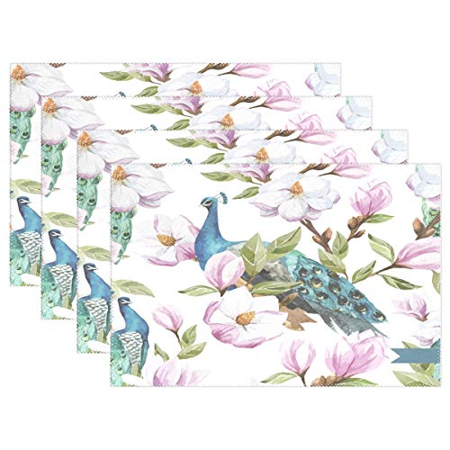 - Placemats Peacock Flower Kitchen Table Mats Resistant Heat Placemat for Dining Table Washable 1 Piece