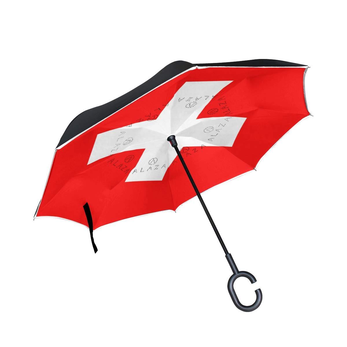 ダブルレイヤー 逆さ傘 逆折りたたみ傘 防風 UV保護 車 スイス国旗用   B07G9JZ9DP