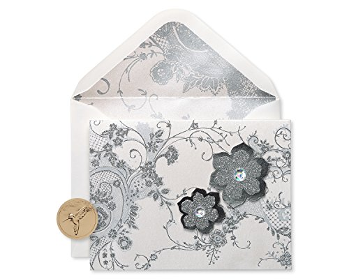 Handmade Blank - Papyrus Lace and Flowers Handmade Boxed Blank Note Cards with Glitter, 8-Count