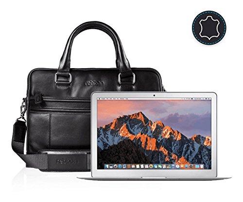 reboon Echt-Leder Laptop-Tasche in Schwarz Leder für APPLE MQD32D 13 3 | 13 Zoll | Notebooktasche Umhängetasche | Damen/Herren - Unisex | Premium Qualität Schwarz Leder DH11f