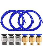 Twotrees 3 STKS (1M) PTFE tubing blauwe Teflon buizen met 3 PCS PC4-M6 pneumatische connectoren en 3 PCS PC4-M10 connector voor 3D-printer 1.75 mm filament