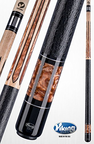 Viking A572 Pool Cue Stick 18 Black (IMA) and Bronze Premium Pearl Inlays & Rings Khaki Stain Birdseye Maple Quick Release Joint ViKORE Shaft 18, 18.5, 19, 19.5, 20, 20.5, 21 oz. (18.5)