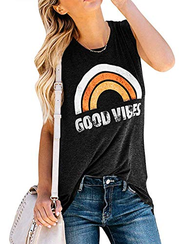 Vaise Women Good Vibes Tank Tops Long Sleeve and Sleeveless Loose fit Graphic Tees Casual Summer Rainbow Good Vibes Shirt (M, Z-Black)