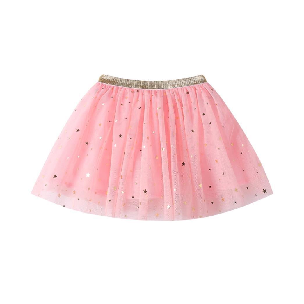 TiTCool Little Girls Star Sequin Princess Tutu Skirt 3-7T White Yellow